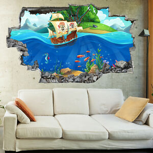 Kids Salior Pirate Sea Ships Childrens 3d Wall Mural Boys
