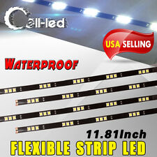 4x White High Power 5050 30cm 15 LED Waterproof Car Motor Flexible Strip Lights