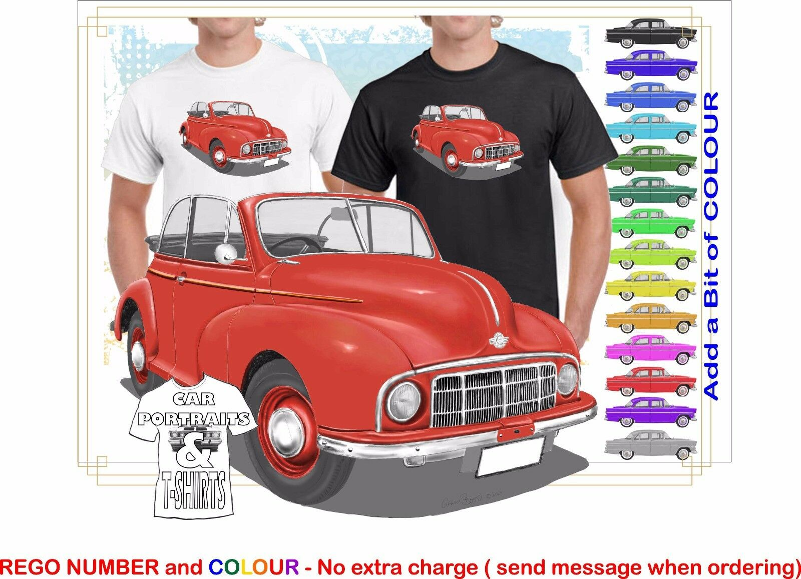 CLASSIC 48-52 MORRIS MINOR CONgreenIBLE ILLUSTRATED T-SHIRT MUSCLE RETRO CAR