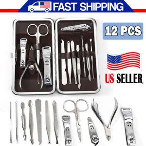 12PCS-Pedicure-Manicure-Set-Nail-Clippers-Cutter-Toe-Nail-Scissor-Kit-Cut-Care