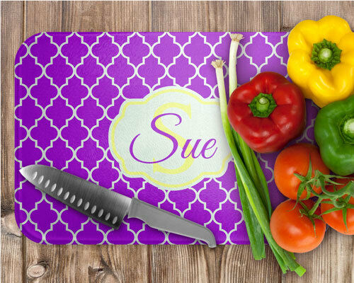 Custom Personalized Quatrefoil Design Kitchen Tempered Glass Cutting Board