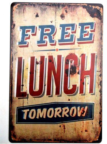 Free Lunch Métal Tin Signe Vintage cafe pub garage DECOR RETRO CUISINE
