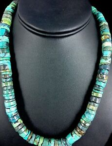 Native-American-Turquoise-9-mm-Heishi-Sterling-Silver-Bead-Necklace-Rare