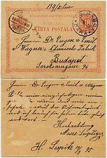 ROMANIA 1895 POSTAL STATIONERY BLUE CANCEL DOLHASCA RAILWAY STATION to WAGNER