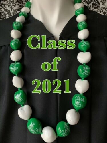 Hawaiian Kukui Nut Lei CLASS of 2021 Graduation Lei Necklace GREEN WHITE NWT