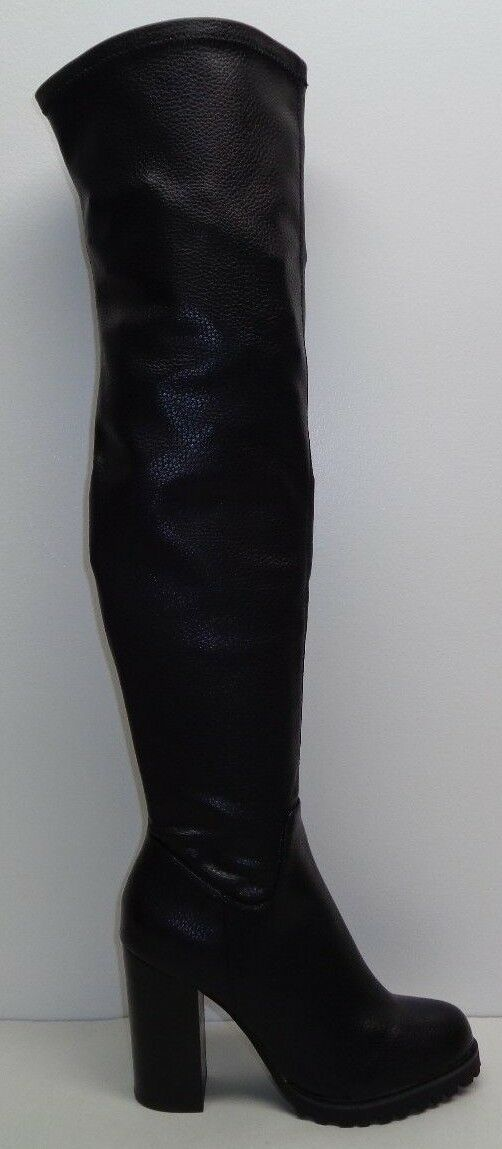 Buffalo Size 9 Eur 39 Black 413-1488 Over Knee Heels Boots New Womens Shoes