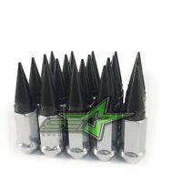 24 Chrome / Black Spiked Lug Nuts 12x1.5 | Offroad For Silverado Sierra Suburban