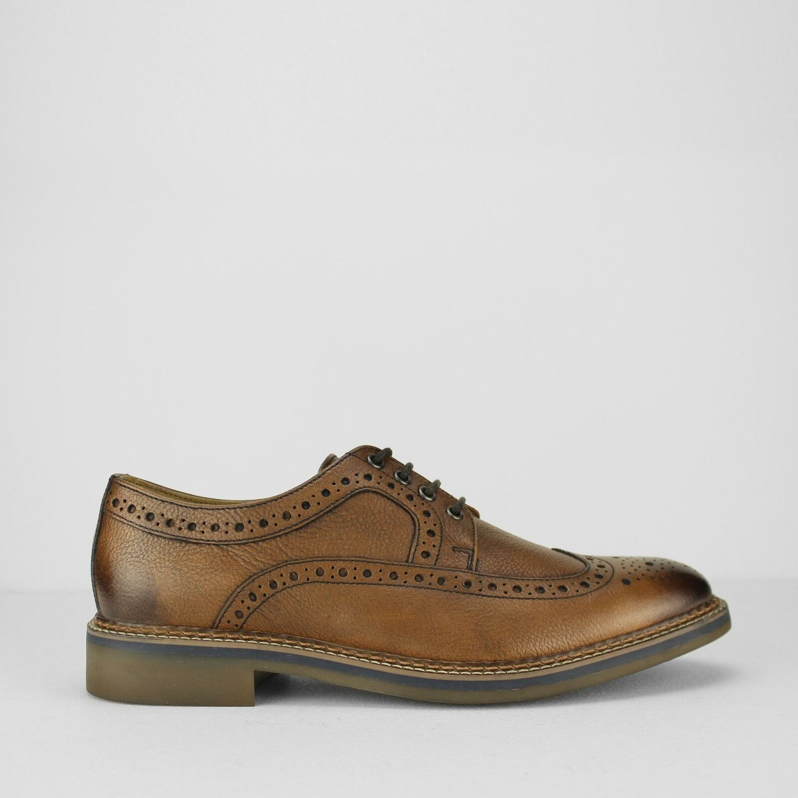 Ikon BARLEY Mens Scotch-grain Leather Stylish Lace-Up Wingtip Brogue schuhe Tan