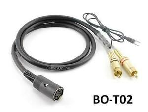 3ft Din7 Female to Gold 2-RCA Male TurnTable Cable w/ Ground