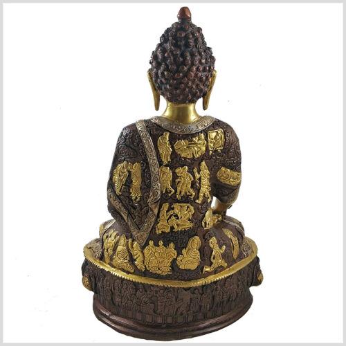 Erdender Buddha 33 cm ca.4 KG Silber Messing Kupfer Buddhismus Bhumisparsa Mudra