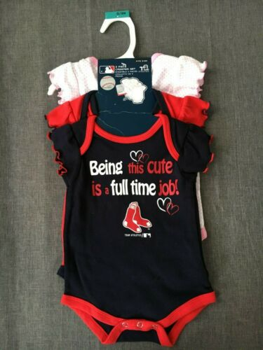 Team Athletics Girls 0//3 Months 3 Piece Creeper Set Boston Red Sox #520 w// Tags