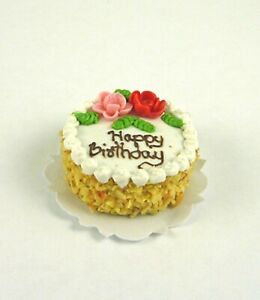 Tremendous Dollhouse Miniature Happy Birthday Cake With Flowers Nuts K2127 Personalised Birthday Cards Cominlily Jamesorg