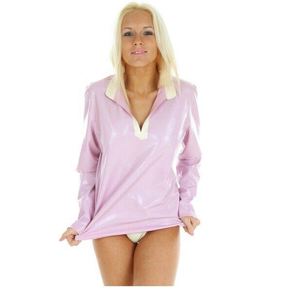 Latex rubber Men Dress Shirt PYJAMAS Top Blouse TV Unisex  XS S M L XL