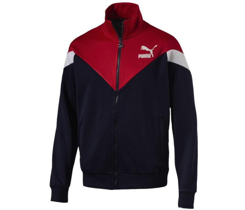 Puma Mcs Track Top Giacca Da Uomo Cerniera Intera Activewear Blu Scuro Rosso 576771 06 P4e