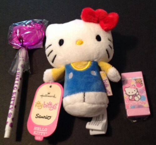 Hallmark 3 pc Ltd Hello Kitty Itty Bitty w// Bonus Rare Sanrio Pen /& Eraser Set