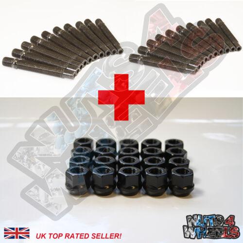 10 fit BMW M3 E75 E92 E93 20 Wheel Stud Conversion kit Black Open Nuts 75mm