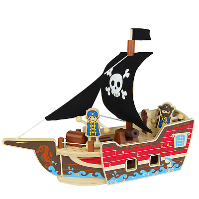 Wooden Pirate Ship Model Toy Pirate Boat Playset Toy Avalan Kids Activity