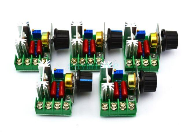 5pcs New 2000W AC 220V SCR Voltage Regulator Speed Controller Dimmer Thermostat