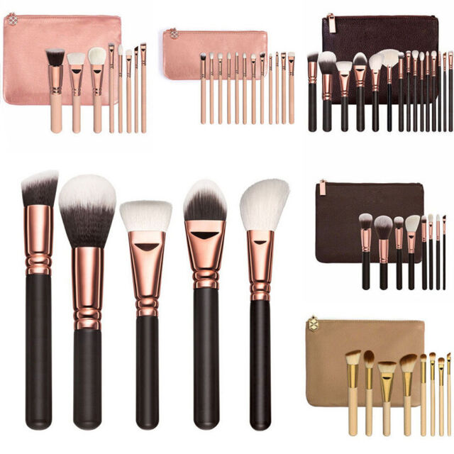15pcs Professional Soft Cosmetic Eyebrow Shadow Makeup Brush Set Kit + Pouch Bag