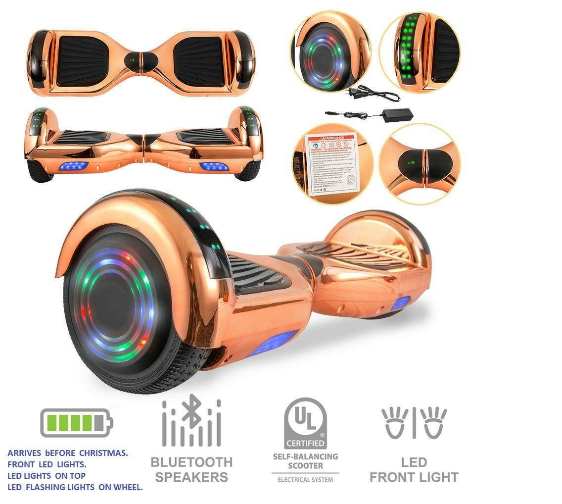 NEW UL HOVERBOARD CHROME SHINY pink gold blueETOOTH FLASHING LED LIGHTS ON WHEELS