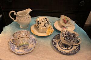 Vintage-Lot-of-Teacups-Saucers-Creamer-Bone-China-Windsor-Rosina-Occupied-Japan