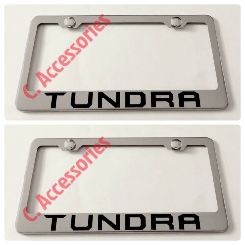 2X TUNDRA Toyota TRD Stainless Steel Chrome Finished License Plate Frame