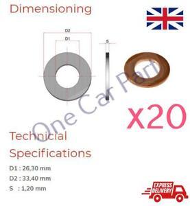 """Plumbing Car DIY 2 x 7//8/"""" Copper UNF Washers Crush Sealing Flat Rings"""