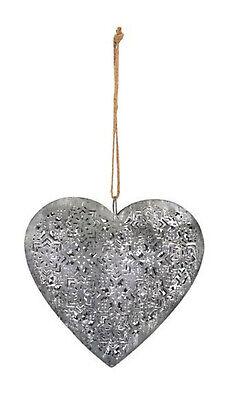 Deko-Herz-hänger Metall zum Hängen Garten-deko Shabby chic silber Landhaus