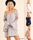 UMGEE Floral Embroidered Off Shoulder Long Sleeve Dress Peasant Gypsy Boho S-L