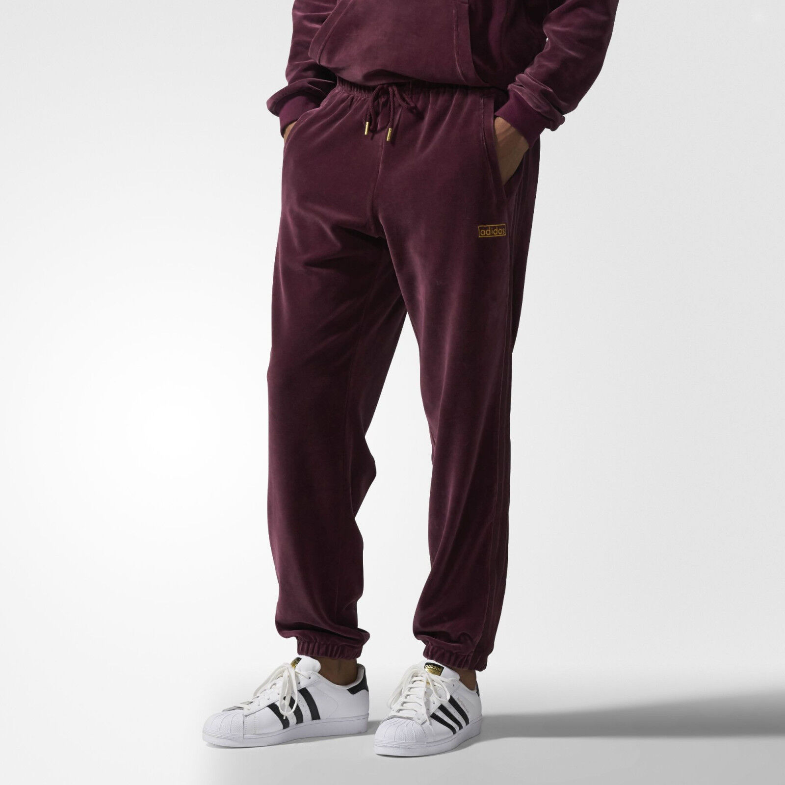 Adidas Originals Velour Sweat Pants Maroon Sizes S to XL AY9231 gold Logo