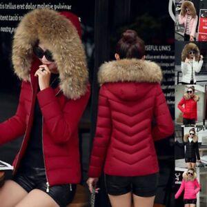 Winter Women Down Cotton Warm Jacket Slim Short Fur Collar Hooded Coat Parka