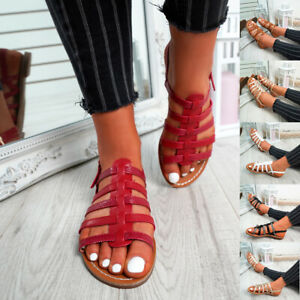 WOMENS-LADIES-BUCKLE-STRAP-FLAT-SUMMER-SANDALS-CASUAL-HOLIDAY-COMFY-SHOES-SIZE