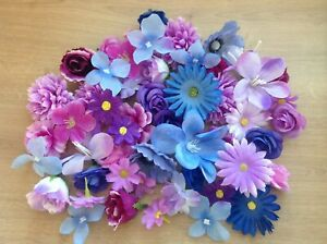 Silk Individual Flower Heads Mixed Colours Artificial Flowers Weddings Crafts