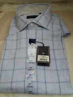 Men's Hardy Amies Saville Row London Long-sleeved Blue Check Shirt - Size 16.5