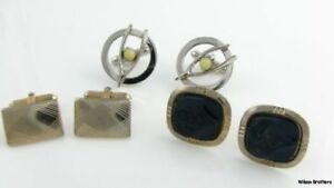 Set-of-3-Cuff-Links-Vintage-Estate-Carved-Onyx-Faux-Pearl-Mens-Fashion