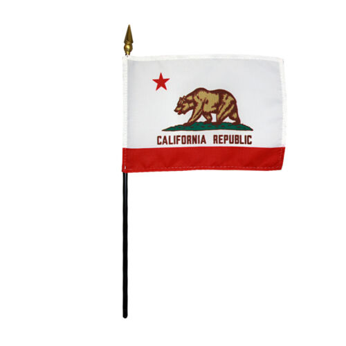 """California State Miniature Fabric Hand Held Table Top Desk Flag Polyester 4/""""x6/"""""""