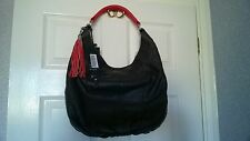 BNWT DEBENHAMS BETTY JACKSON DESIGNER SOFT LEATHER BROWN BAG WITH RED