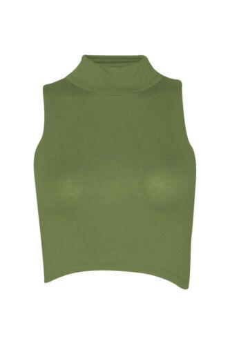 Womens Ladies Sleeveless Polo Turtle Neck Crop Top Mini Short Stretch Plain