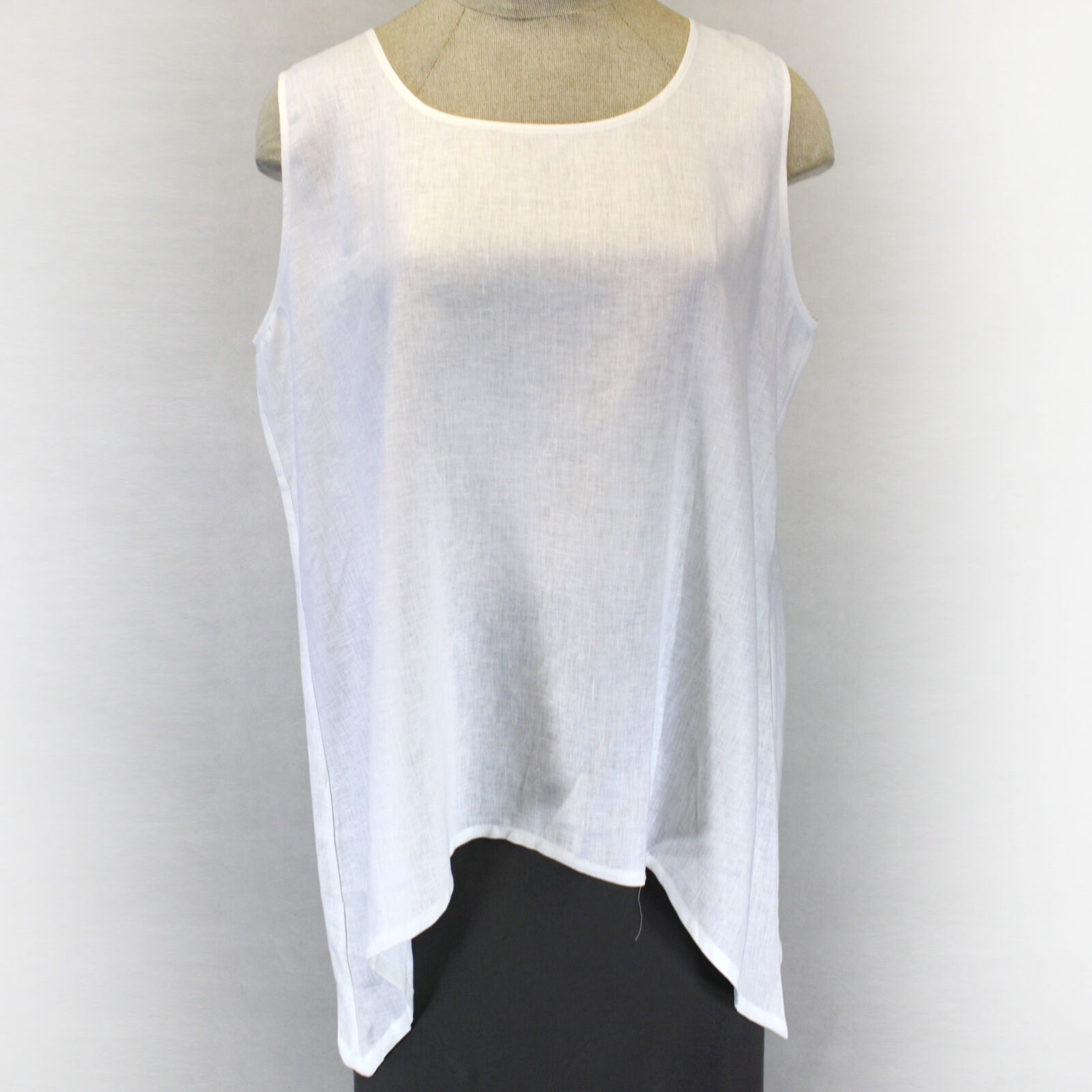 NEW Chalet et Ceci Plus Size White 100% Linen Tunic Blouse 3X Made in USA