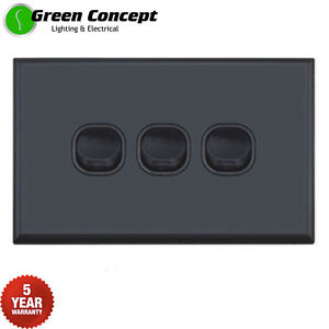 NEW-SLIM-Triple-Three-3-Gang-Wall-Light-Switch-Black-5mm-thin