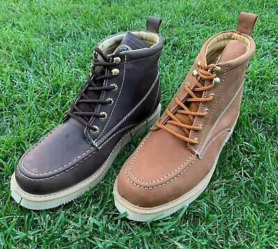 Men/'s Construction Work Boots lightWeight Pull On Leather Bota trabajo Construcc