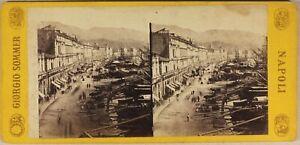 Italia-Port-Da-Messina-Foto-Giorgio-Sommer-c1865-Stereo-Vintage-Albumina