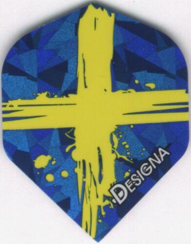 Splattered Flag of SWEEDEN Dart Flights 3 per set