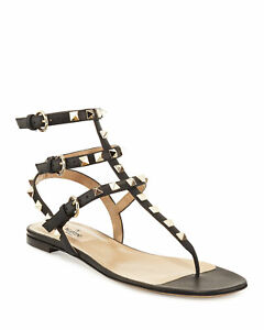 3807abfaed4cd Image is loading Valentino-Garavani-Rockstud-Flat-Thong-Sandals-Black- Leather-