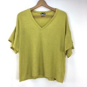 H-By-Bordeaux-Mustard-Yellow-Tiered-Ruffle-Sleeve-V-neck-Top-Size-Medium