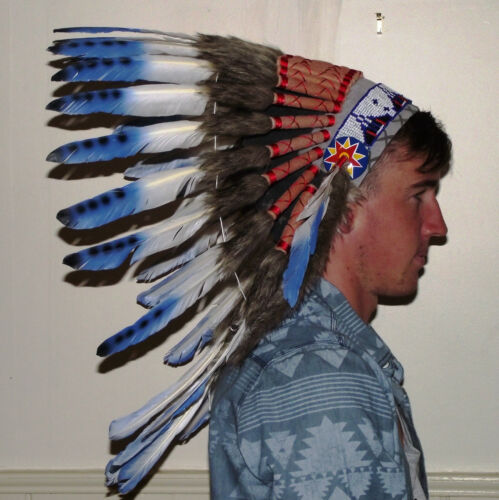 #wb585 Quality Native American Indian Chief Feather war bonnet Headdress 1 size