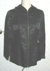 HILTON-HOLLIS-Black-SILK-COMBO-ZIPPER-FRONT-Hoodie-Jacket-MSRP-395-NWT-Size-8