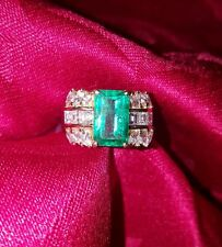 ladies 18k yellow gold emerald ring round princess cut diamond size 6 1/2