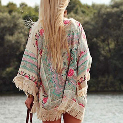 New Women Tassel Kimono Jacket Chiffon Cardigan Floral Top Blouse Beach Cover Up