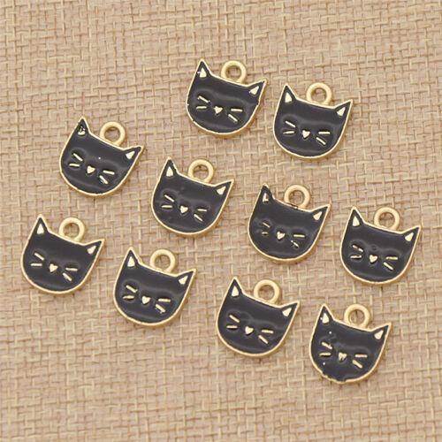 Cartoon Cat Design Pendant Enamel Elegant Animal Jewelry Making Accessories Deco